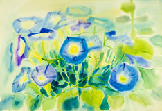 Abstract watercolor original painting blue color of morning glory. Flower and green leaves in abstract background Royalty Free Stock Photo