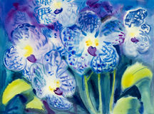 Abstract watercolor original painting blue color of orchid flowers. Abstract watercolor original painting blue color of orchid flowers and green leaves in blue Stock Photo