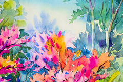 Abstract watercolor original painting colorful of beauty flowers. Abstract watercolor original painting on paper colorful of beauty flowers and green leaves in Stock Images