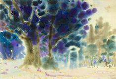 Abstract watercolor original painting colorful of blue tree. And emotion in sky background Royalty Free Stock Image