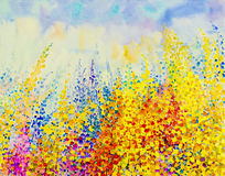 Abstract watercolor original painting colorful of flower fantasy Stock Photo
