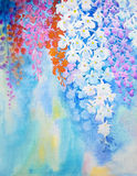Abstract watercolor original painting colorful of orchid flower. Abstract watercolor original painting on paper colorful of orchid flower and emotion in blue Vector Illustration