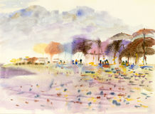 Abstract watercolor original painting colorful of people on the beach Stock Photo