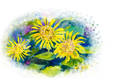 Abstract watercolor original painting colorful of sun flowers. And green leaves in white background Stock Illustration