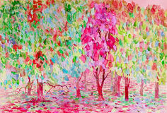 Abstract watercolor original painting landscape, colors of nature. And emotion in pink leaves  background Stock Photography