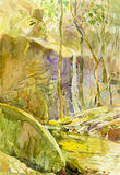 Abstract watercolor original painting landscape of waterfall. And stone, green leaves background Royalty Free Illustration