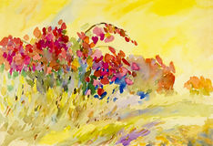 Abstract watercolor original painting on paper colorful of flowers. And emotion in yellow sky background Stock Illustration