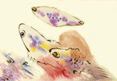 Abstract watercolor original painting pink color of fish playfully. And emotion in pink background,congratulate postcard Stock Photography