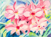 Abstract watercolor original painting pink color of orchid flowe. R and green leaves in blue background Stock Illustration
