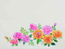 Abstract watercolor original painting pink,orange color of rose. Pattern flower and green leaves in white background Royalty Free Stock Photo