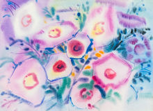 Abstract watercolor original painting purple,pink color of morning glory. Flowers  and green leaves in blue color background Royalty Free Stock Image