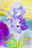 Abstract watercolor original painting purple pink color. Of orchidaceae flower and green leaves in blue yellow background Vector Illustration