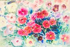 Abstract watercolor original painting red,pink color of morning glory  flowers Stock Photo