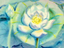 Abstract watercolor original painting white color of lotus flower. And mountain in green leaves blue background Royalty Free Stock Photography