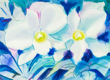 Abstract watercolor original painting white color of orchid  flower Royalty Free Stock Photo