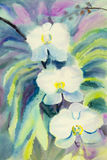 Abstract watercolor original painting white color of orchid flower. And green leaves in blue background Stock Photos