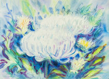 Abstract watercolor original painting white,purple  color chrysanthemum Stock Images