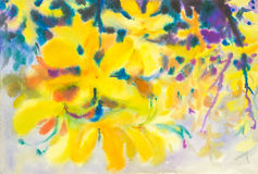 Abstract watercolor original painting yellow color of golden shower tree flowers. And green leaves of blue color background Royalty Free Stock Images