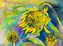 Abstract watercolor original painting yellow color of sunflower Stock Image