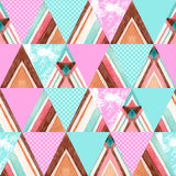 Abstract watercolor ornate triangles seamless pattern. Stock Photo