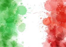 Abstract watercolor Italy flag. Abstract watercolor paint splashes in Italy flag colors. Template for national holiday or celebration background Royalty Free Stock Image