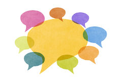 Abstract Watercolor Painted Speech Bubbles. A group of abstract watercolor textured speech bubbles in various colors and sizes. One large speech bubble with Royalty Free Stock Photography