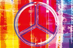 Abstract watercolor artwork poster with peace sign Royalty Free Stock Images