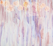 Abstract watercolor painting in combination with flowers roses Royalty Free Stock Photos