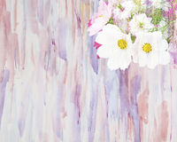 Abstract watercolor painting combined with a bouquet Stock Image