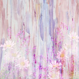 An abstract watercolor painting combined with wild flowers Stock Images