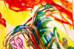 Abstract background. he Dragon. Abstract watercolor painting detail. Green and red figure in dragon shapen Royalty Free Stock Image