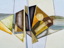 An abstract watercolor painting. An abstract painting, fractured geometric shapes Stock Photo