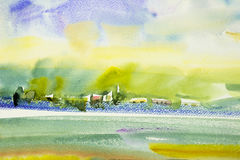 Abstract watercolor painting landscape colorful of home garden. Royalty Free Stock Images