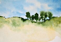 Free Abstract Watercolor Painting Of Top Hill Trees Royalty Free Stock Photo - 203705415