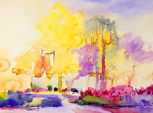 Abstract watercolor painting original colorful of garden beauty. Royalty Free Stock Photography