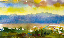 Abstract watercolor painting original landscape colorful of mountain Stock Photos