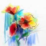 Abstract watercolor painting of spring flower. Still life of yellow, pink and red gerbera, daisy. Colorful bouquet flowers with light yellow, green, blue Royalty Free Stock Images