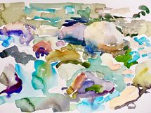 Abstract watercolor painting of stones in the river. Wet style pleinair illustration stock illustration