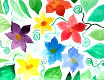 Abstract watercolor paper background with colorful flowers. Abstract hand painted watercolor paper background with colorful flowers Stock Photo