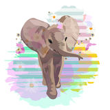 Abstract watercolor pattern baby elephant. Floral colorful background with striped spots, color print design textile, cool style for summer, draw animals royalty free illustration