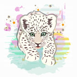 Abstract watercolor pattern baby leopard. Floral colorful background with striped spots, color print design textile, cool style for summer, draw animals stock illustration