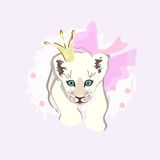 Abstract watercolor pattern baby lion Royalty Free Stock Photo