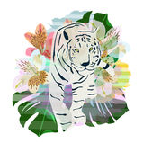Abstract watercolor pattern tiger, floral Royalty Free Stock Photos