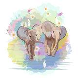 Abstract watercolor pattern Two funny little babies elephants. (boy girl) birds in floral background ( blue pink green) ,   color print design love, greeting Royalty Free Stock Image