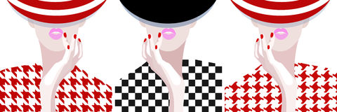 Abstract watercolor pattern woman, striped hat royalty free illustration