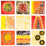 Abstract watercolor picture. Mix of nine small individual pictures. Handpainted picture in warm colors stock images