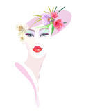 Abstract watercolor portrait girl, floral hat pink. Red lipstick, eye shadow, beauty logo, fashion, women shop, trendy stylish texture spring summer,  color Stock Images