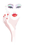 Abstract watercolor portrait girl model, fashion. Art, beauty. Color  prints, design Makeup, isolated on white background for text, women and hand with red Royalty Free Stock Photos