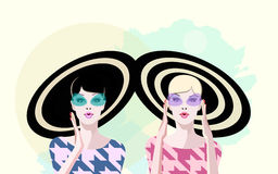 Abstract watercolor portrait surprised two girl Royalty Free Stock Image