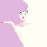 Abstract watercolor portrait woman model, fashion art, beauty. Color  prints, Makeup, showing empty copy space background for text, special offer, Proposing Royalty Free Stock Photo